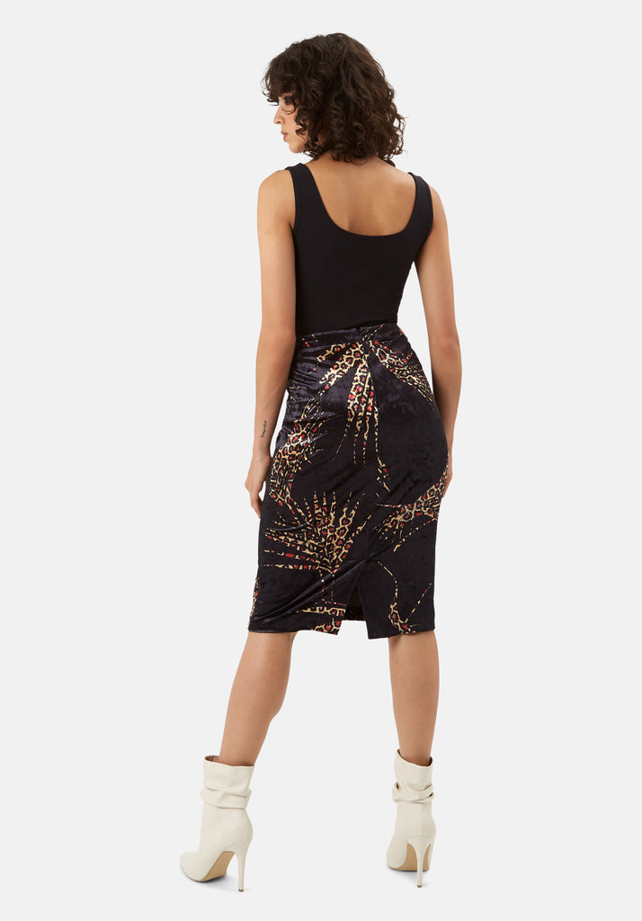 Traffic People WWS Pencil Velvet Animal Print Skirt in Black and Red Side View Image
