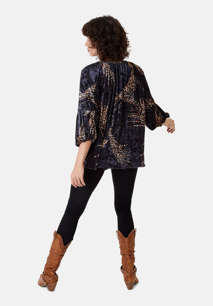 Traffic People Folklore 3/4 Sleeve Velvet Shirt in Black and Gold Back View Image