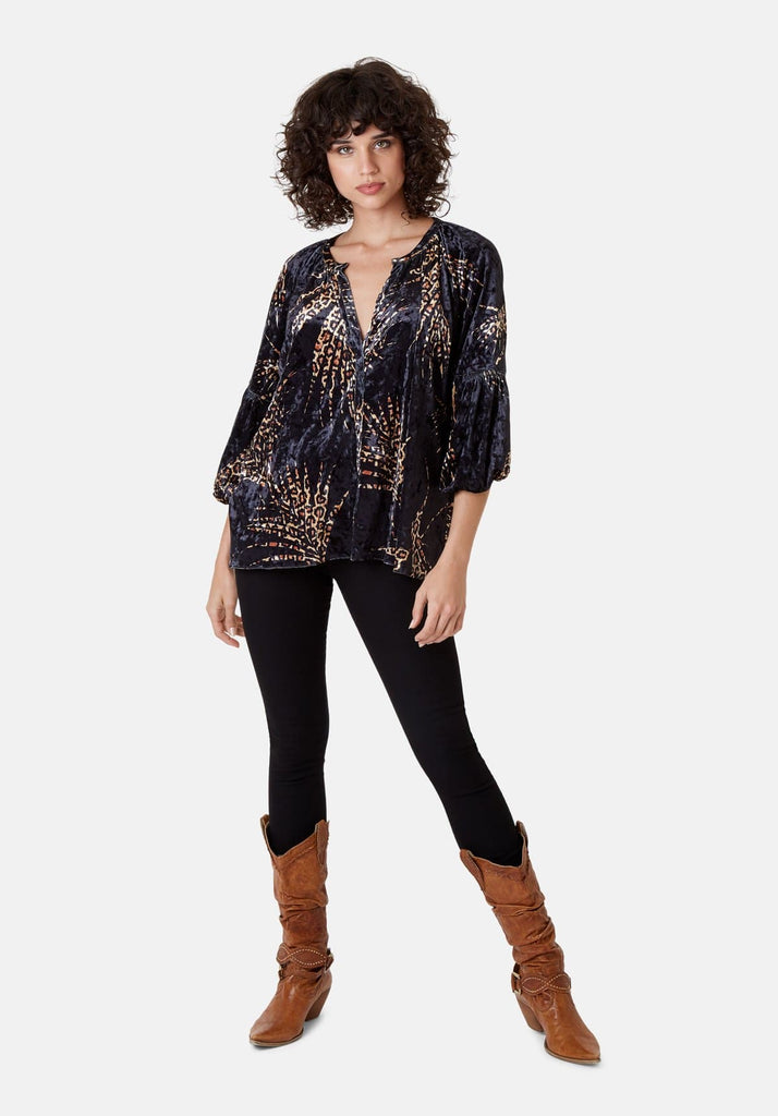 Traffic People Folklore 3/4 Sleeve Velvet Shirt in Black and Gold Front View Image