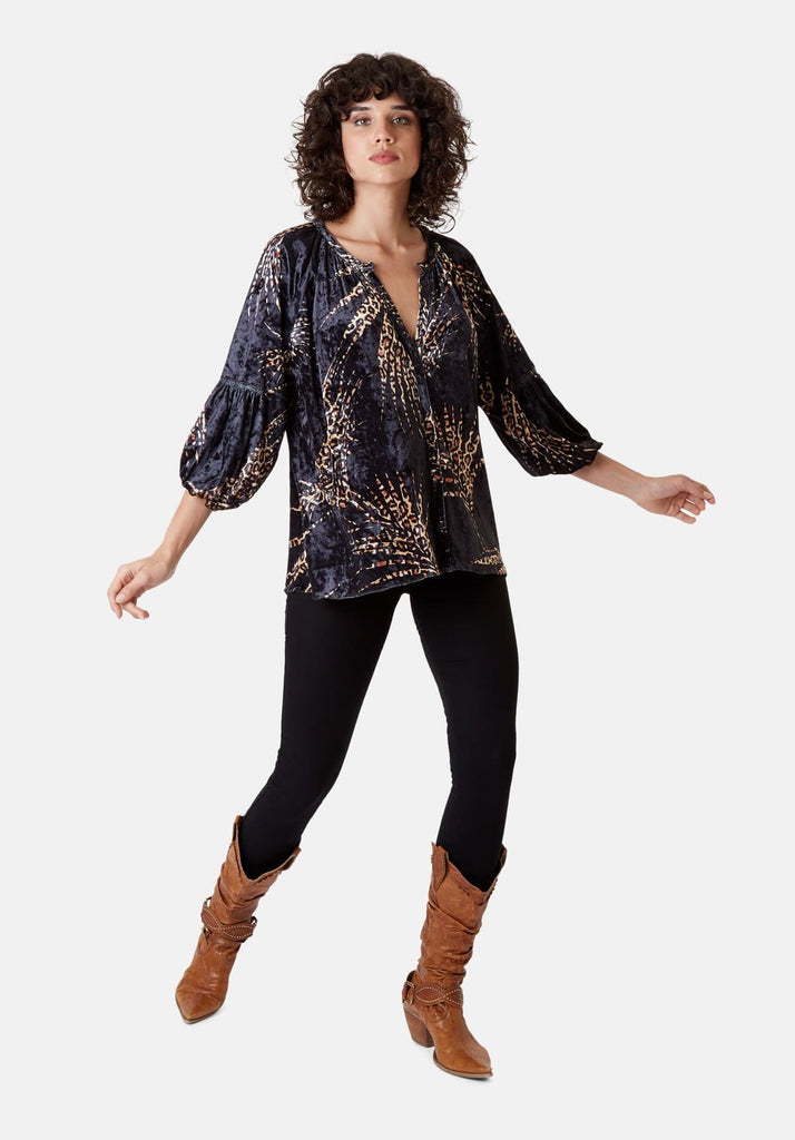 Traffic People Folklore 3/4 Sleeve Velvet Shirt in Black and Gold Side View Image