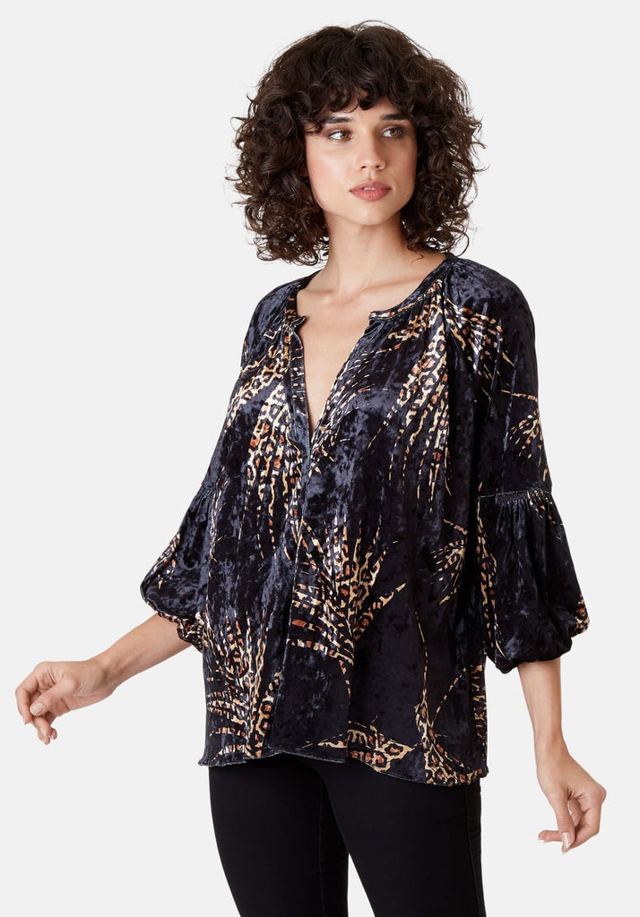 Traffic People Folklore 3/4 Sleeve Velvet Shirt in Black and Gold Close Up Image