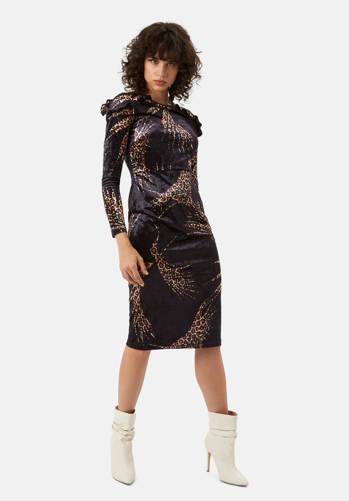 Traffic People Frills Velvet Midi Dress in Black and Gold Front View Image