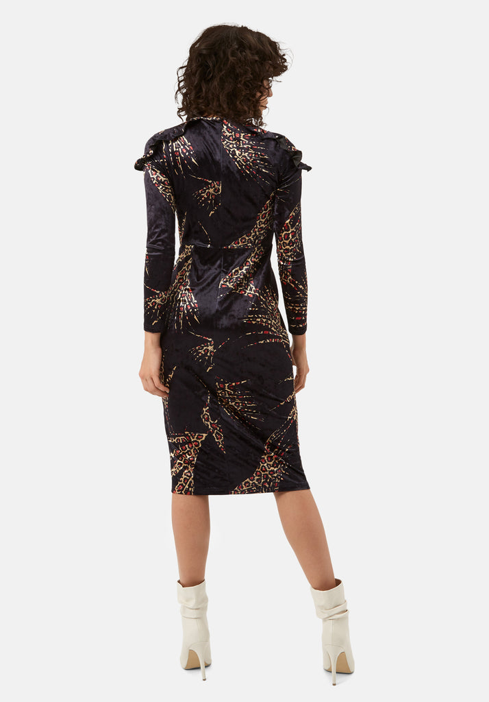 Traffic People Frills Velvet Midi Dress in Black and Gold Side View Image