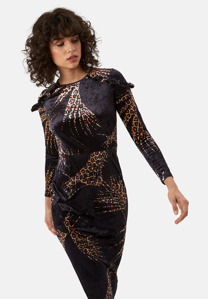 Traffic People Frills Velvet Midi Dress in Black and Gold Back View Image