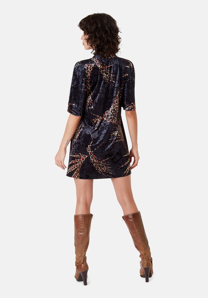 Traffic People Wild Side Lush Mini Shift Dress in Black and Red Back View Image