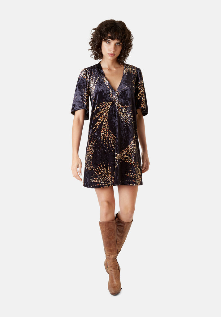 Traffic People Wild Side Lush Mini Shift Dress in Black and Gold Front View Image