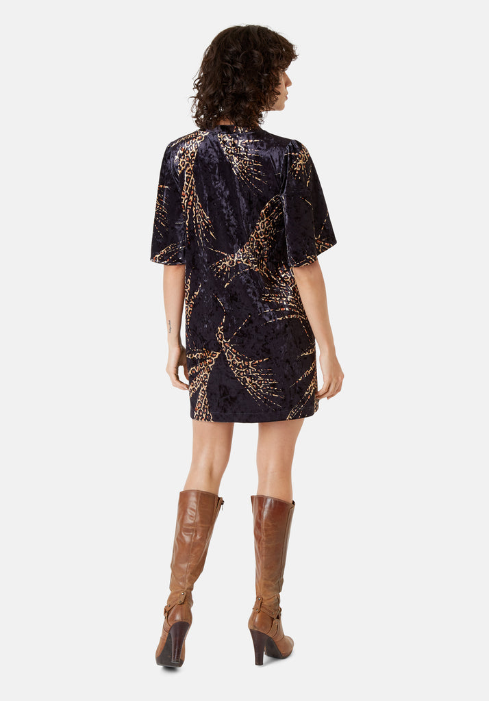 Traffic People Wild Side Lush Mini Shift Dress in Black and Gold Back View Image