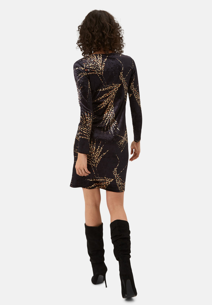 Traffic People Wild Side Sink Velvet Leopard Print Dress in Black Back View Image