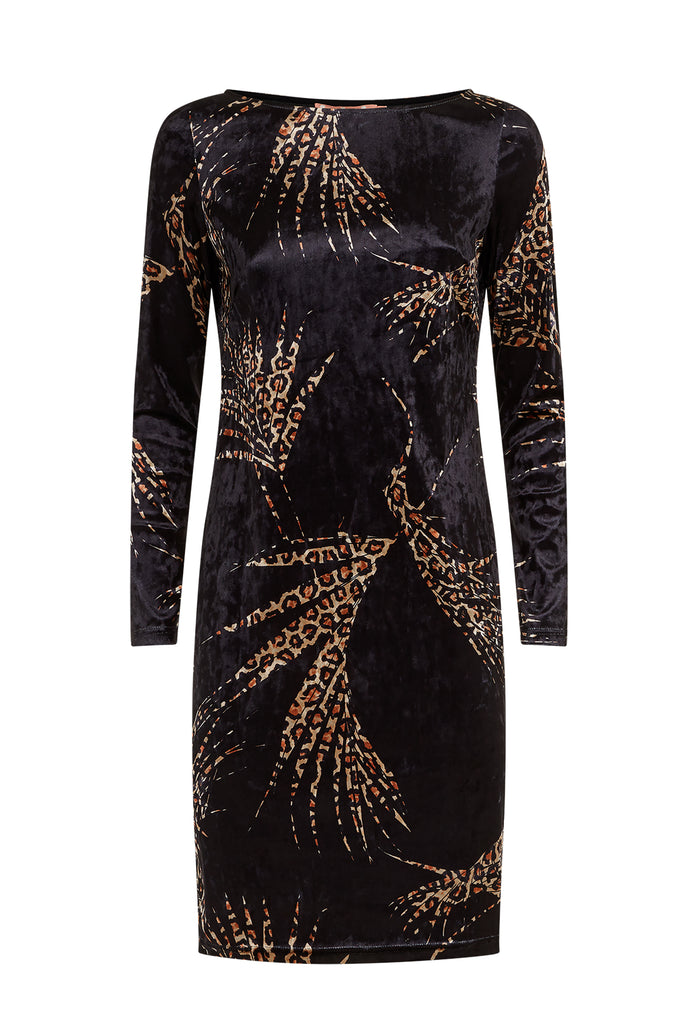 Traffic People Wild Side Sink Velvet Leopard Print Dress in Black FlatShot Image