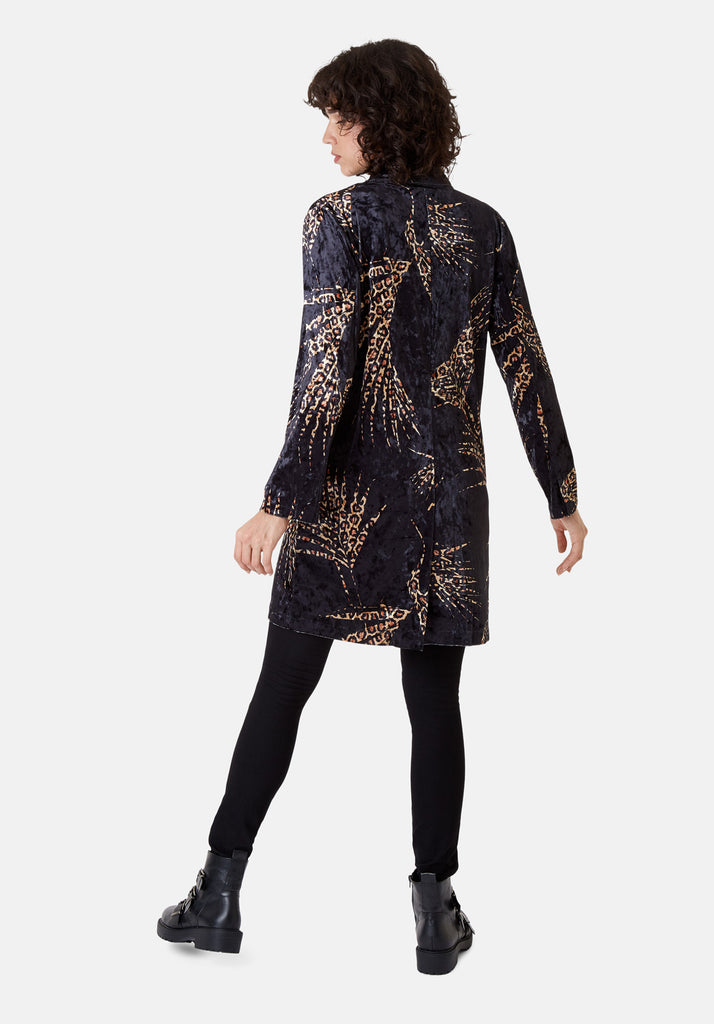 Traffic People Don Animal Print Velvet Jacket in Black and Gold Back View Image