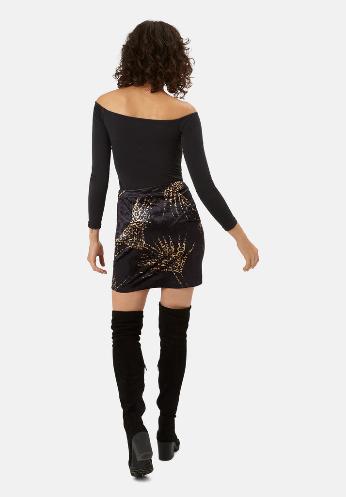 Traffic People WWS Mini A-Line Velvet Skirt in Black and Gold Side View Image