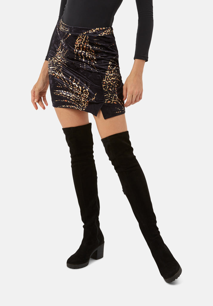 Traffic People WWS Mini A-Line Velvet Skirt in Black and Gold Back View Image