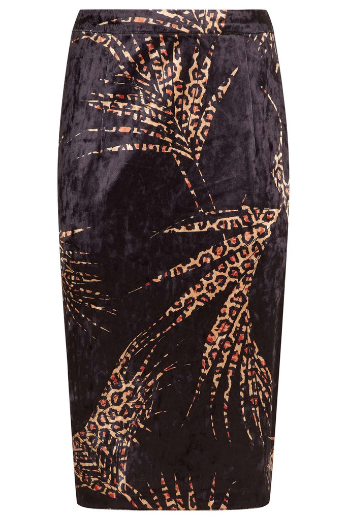 Traffic People WWS Pencil Velvet Animal Print Skirt in Black and Red FlatShot Image