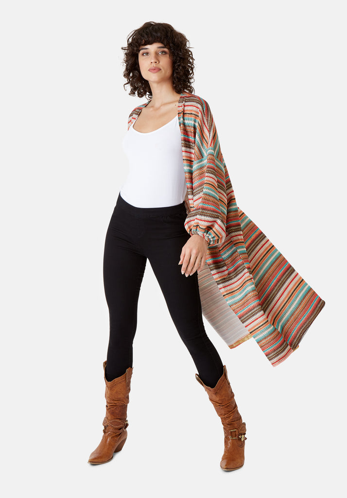 Traffic People Striped Long Sleeved Shrug Jacket in Multicoloured Side View Image