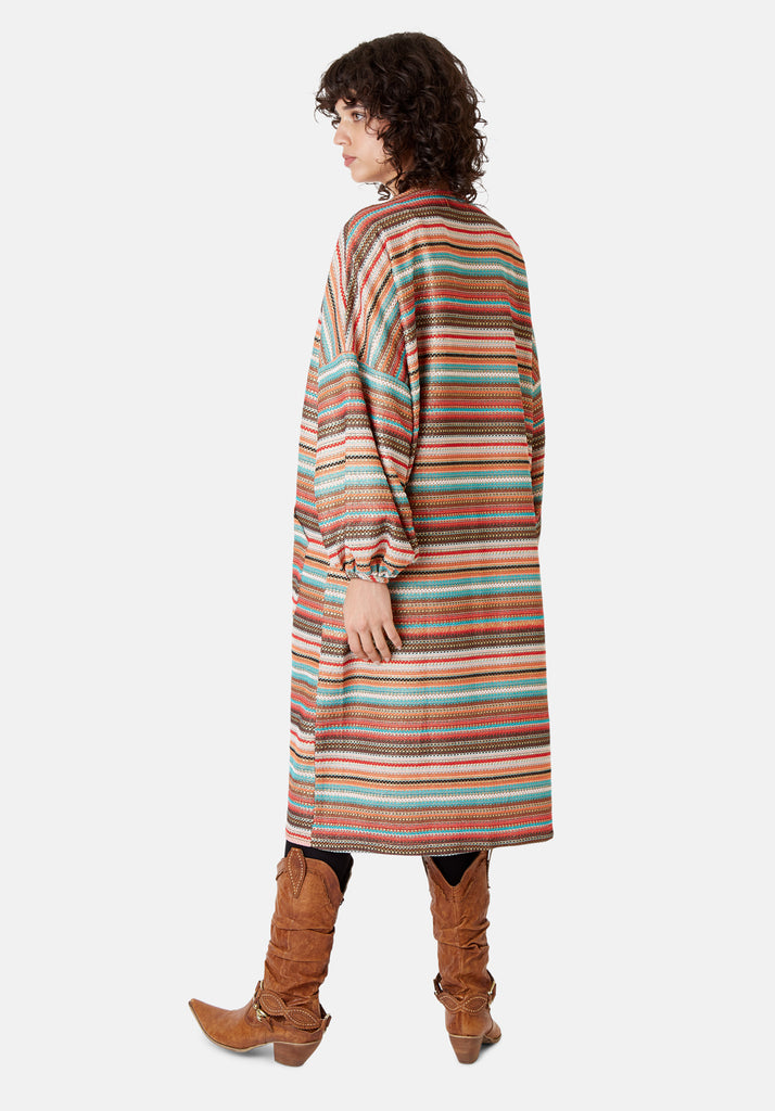 Traffic People Striped Long Sleeved Shrug Jacket in Multicoloured Back View Image