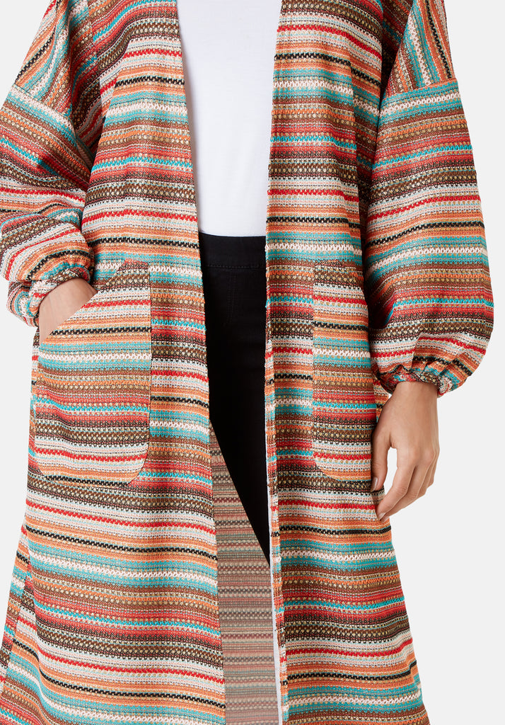Traffic People Striped Long Sleeved Shrug Jacket in Multicoloured Close Up Image