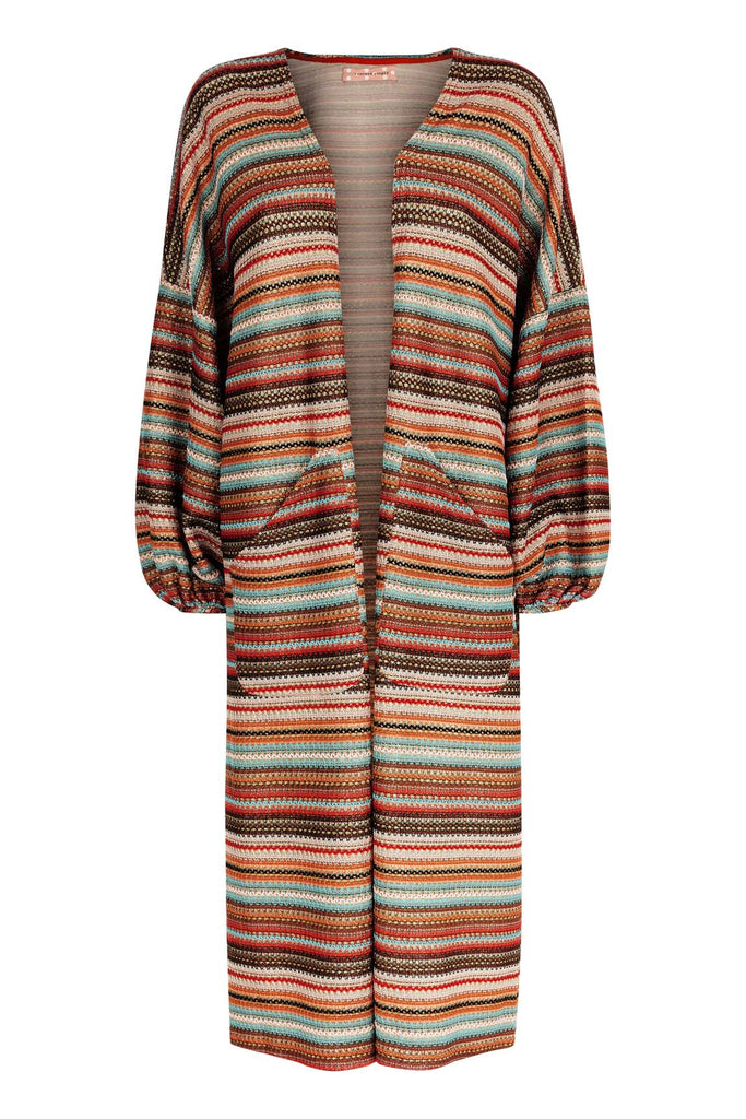 Traffic People Striped Long Sleeved Shrug Jacket in Multicoloured FlatShot Image