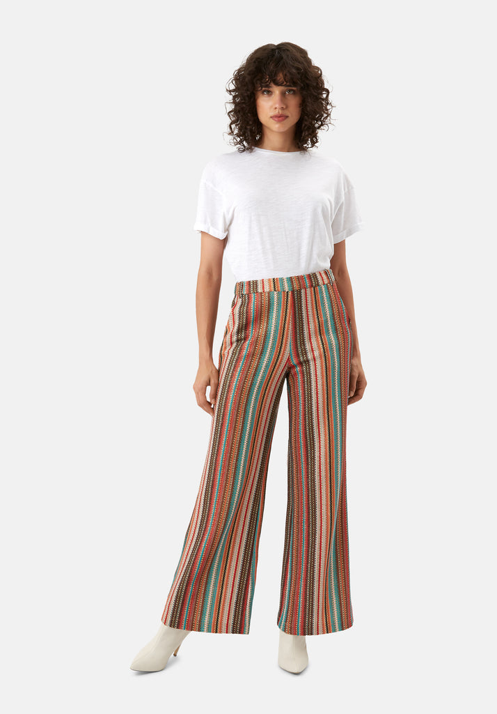 Traffic People WYF Multicoloured Flared Trousers Side View Image