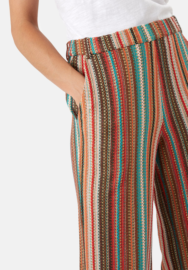 Traffic People WYF Multicoloured Flared Trousers Back View Image