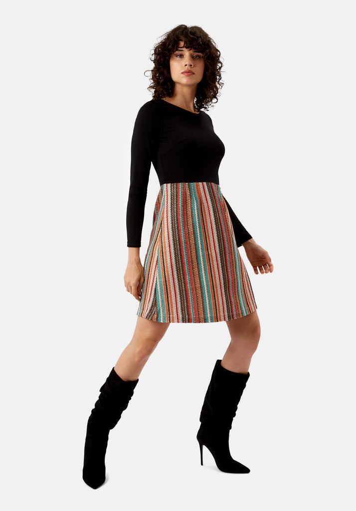 Traffic People Nolan Skater Long Sleeved Dress in Multicoloured Side View Image