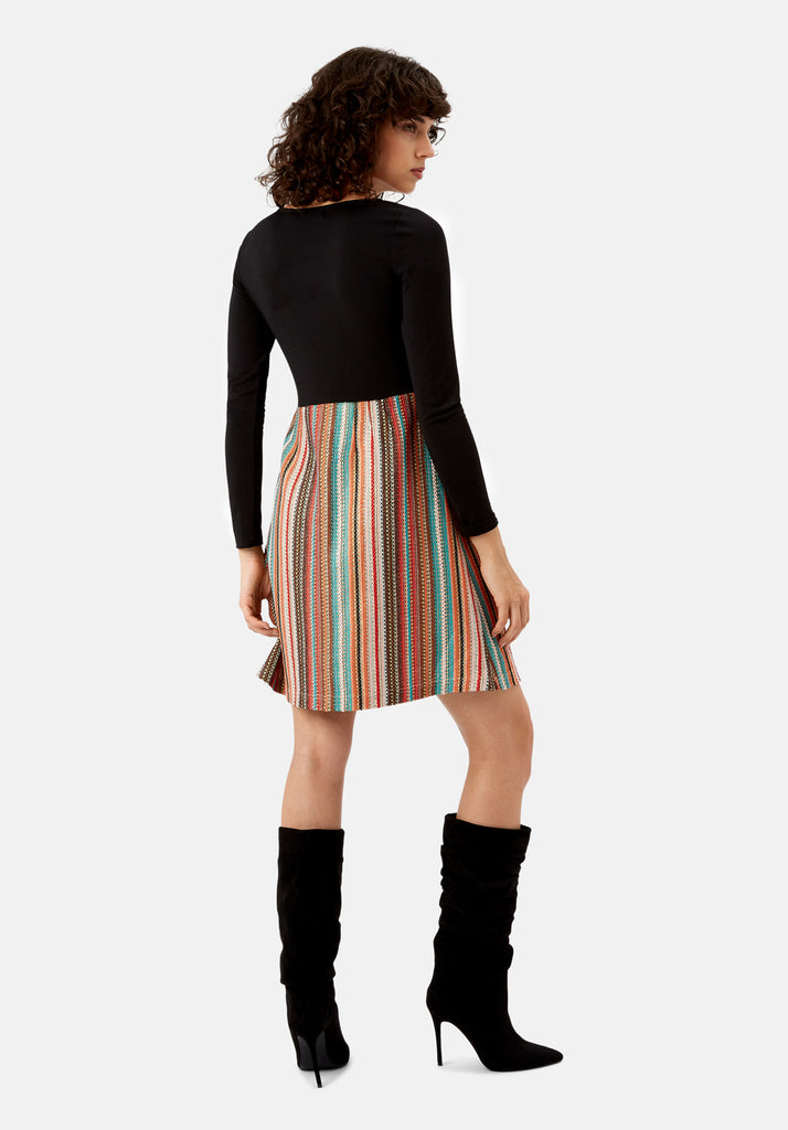 Traffic People Nolan Skater Long Sleeved Dress in Multicoloured Back View Image