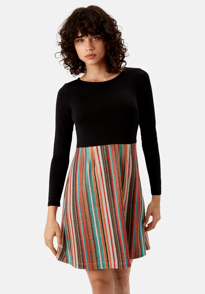 Traffic People Nolan Skater Long Sleeved Dress in Multicoloured Front View Image