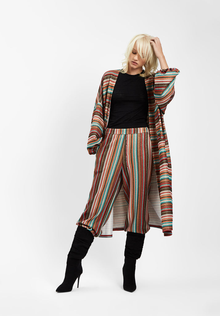 Traffic People Striped Long Sleeved Shrug Jacket in Multicoloured Front View Image
