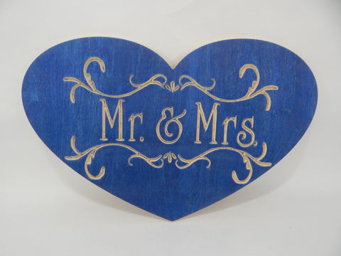 Handcrafted Wood sign! Mr. & Mrs. in heart shape ! Great gift! Rustic home decor! Love spouse !