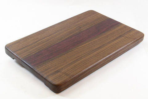 Handcrafted Wood Cutting Board - Edge Grain - Walnut and Purpleheart wood. No slip bottom & easy grips. Chefs/cooks will love this!!