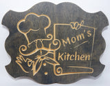 Handcrafted Wood sign! Mom's Kitchen sign. Great gift! for Mom! Mom cooking gifts!  Rustic home decor!