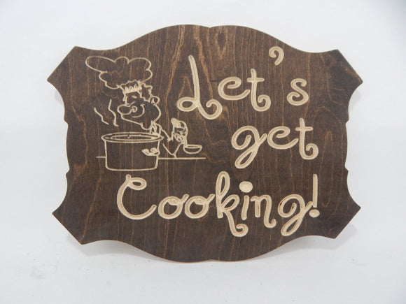 Handcrafted Wood sign! Lets Get Cooking ! Great gift! Rustic home decor! Love spouse ! Kitchen Decor !