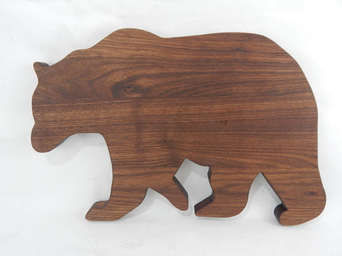 Animal cutting board in the shape of a Bear. Solid Walnut, Cherry or Maple woods. Kids Board