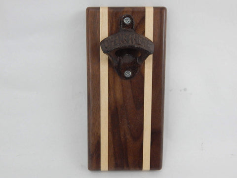 Magnet Bottle Opener/Holder with Walnut and Maple woods.
