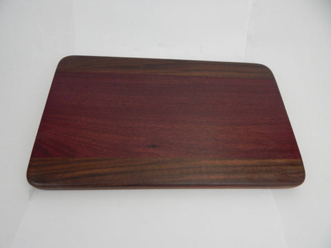 Handcrafted Wood Cutting Board - Edge Grain - Purpleheart and Walnut wood. No slip bottom. Great wedding gift! Chefs/cooks will love this!!