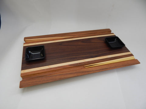 Sushi Board - Walnut, Maple & Cherry with Chopstick grooves