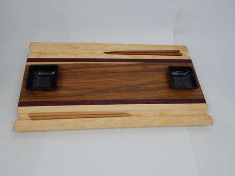 Handcrafted wood Sushi Board - Hickory, Purpleheart and Maple with Chopstick grooves