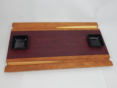 Handcrafted wood Sushi Board- Purpleheart and Cherry with Chopstick grooves