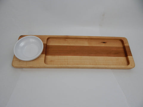 Handcrafted Wood Bread/Dip Tray. Maple & Cherry woods.