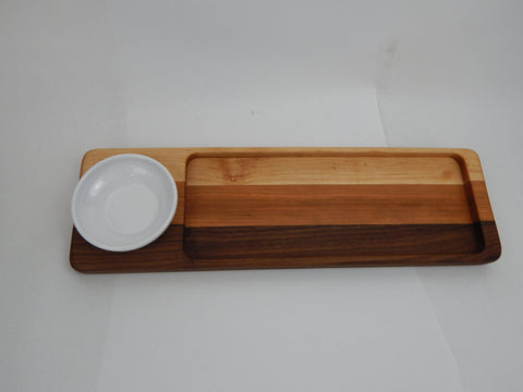 Handcrafted Wood Bread/Dip Tray. Walnut, Maple & Cherry woods.
