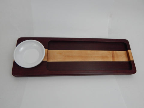 Handcrafted Wood Bread/Dip Tray. Purple Heart & Maple woods.