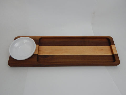 Handcrafted Wood Bread/Dip Tray. Walnut & Maple woods.