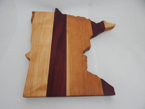 Handcrafted Wood Minnesota Cheese/Cutting Board. Purpleheart, Cherry, Maple, Walnut woods! Minnesota cutting board! Great gift! Party gift!