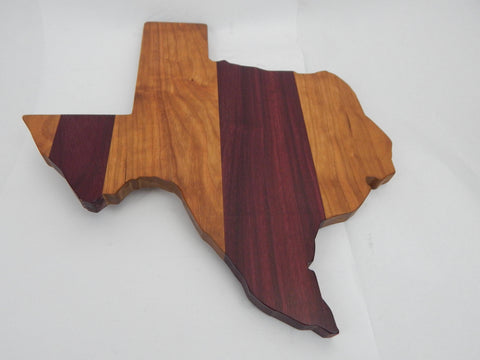 Handcrafted Wood Texas Cheese/Cutting Board. Cherry & Purpleheart woods! Great gift for him or her. Excellent at parties!