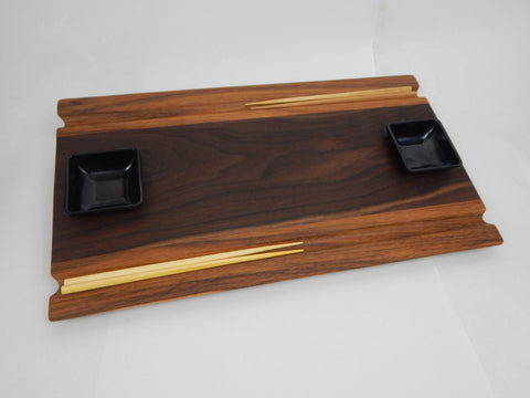 Sushi Board - Walnut & Hickory with Chopstick grooves