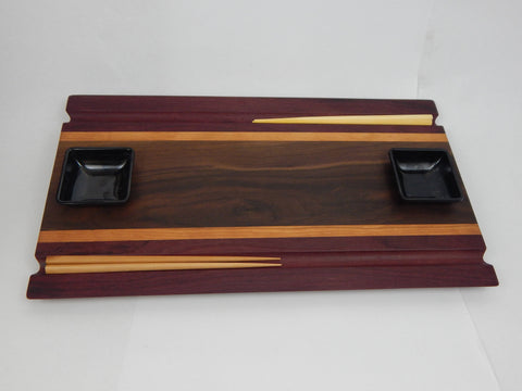 Handcrafted wood Sushi Board - Walnut,  Purpleheart and Cherry with Chopstick grooves