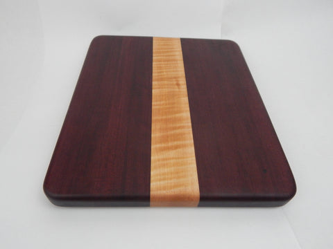 Handcrafted Wood Cutting Board - Edge Grain - Purpleheart and Maple wood. No slip bottom. Great wedding gift! Chefs/cooks will love this!!