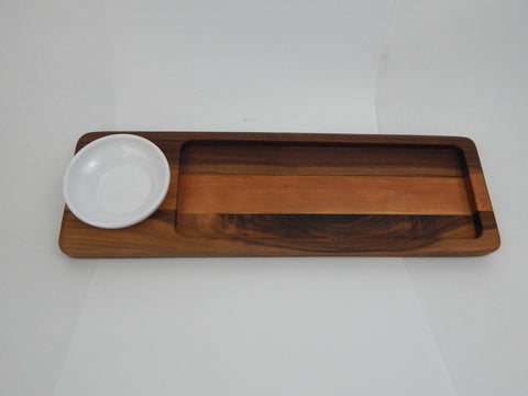 Handcrafted Wood Bread/Dip Tray. Walnut & Cherry woods.