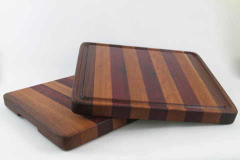Handcrafted Wood Cutting Board - Edge Grain - Cherry, Purple Heart & Walnut. Optional juice groove.