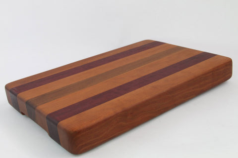 Handcrafted Wood Cutting Board - Edge Grain - Walnut, Cherry and Purpleheart. No slip and easy grips. For him or her, Chefs or cooks!