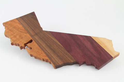 Handcrafted Wood California Cheese/Cutting Board. Maple, Walnut, Cherry and Purpleheart woods